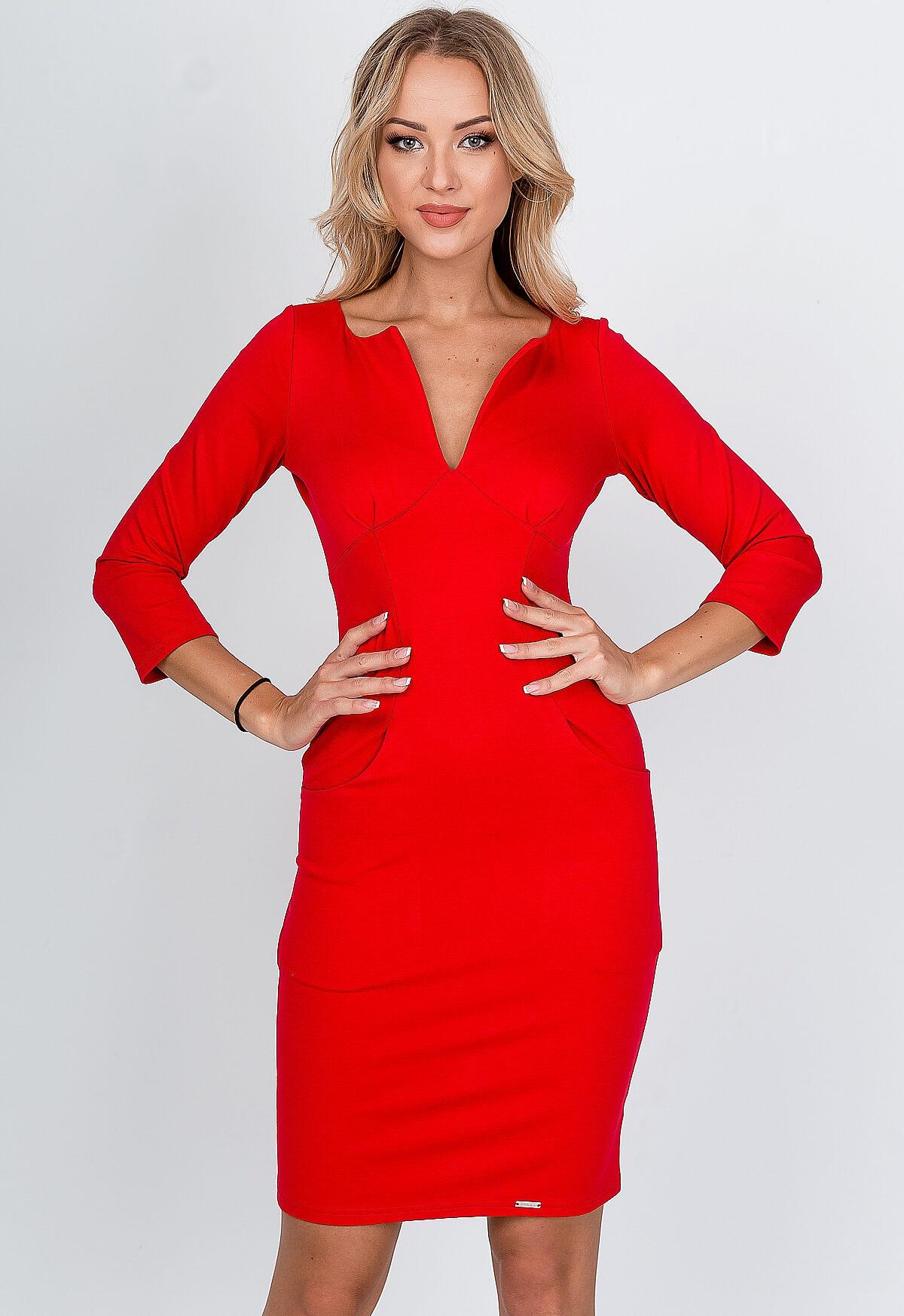 Elegantné červené puzdrové šaty - L