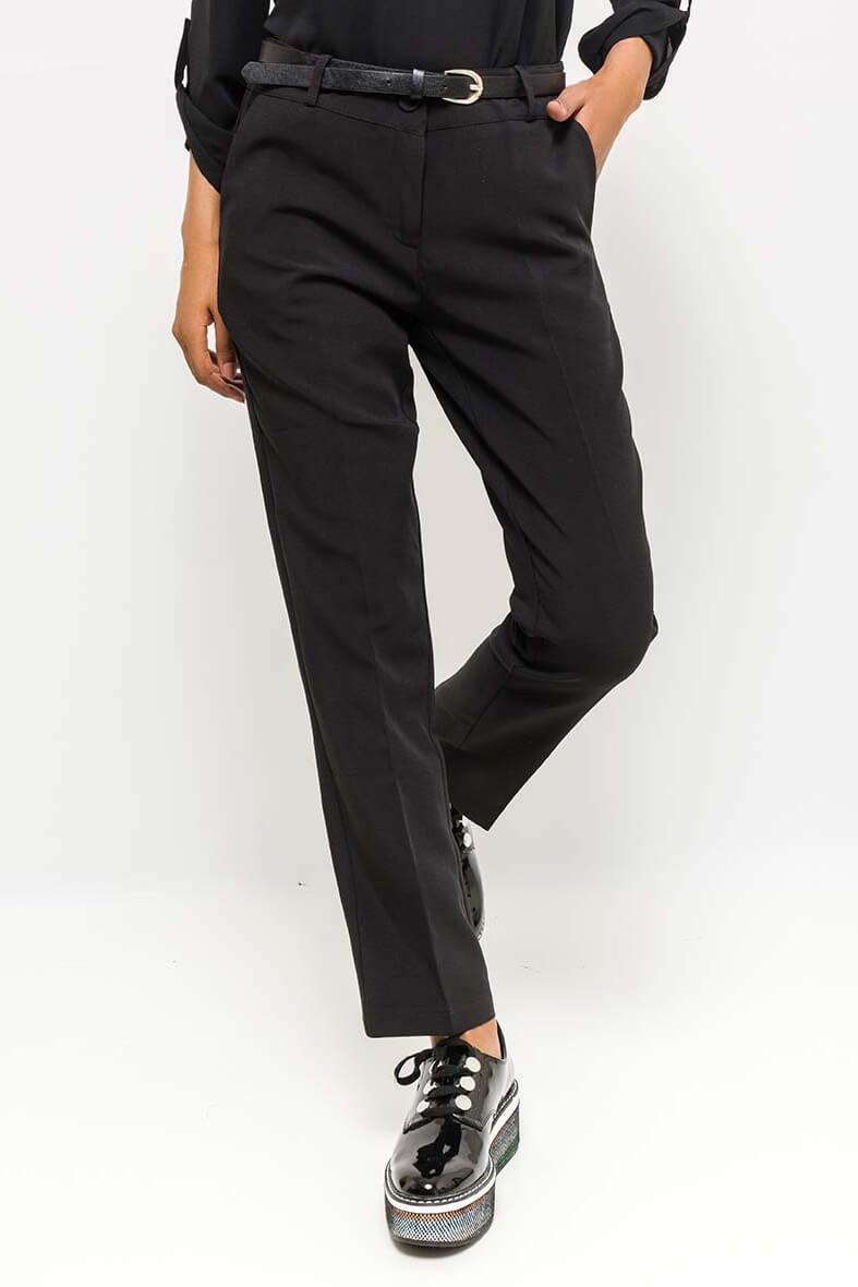 Elegantné čierne dámske nohavice s opaskom