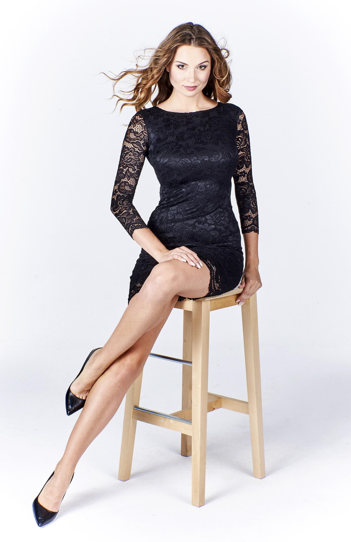Elegantné čierne čipkované šaty - L