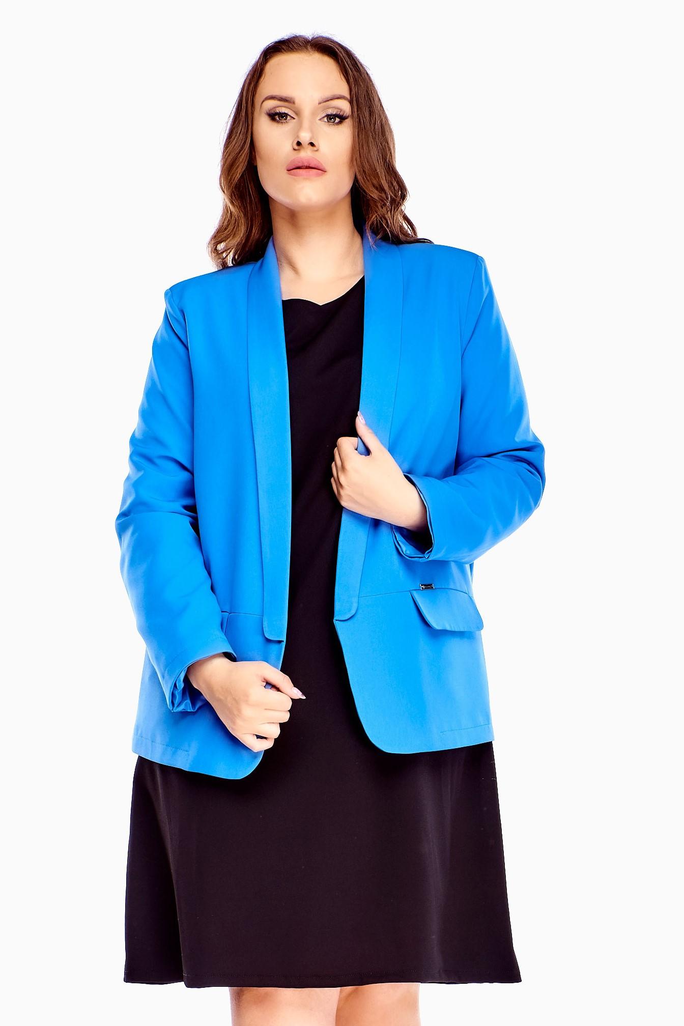 Elegantné dámske modré sako