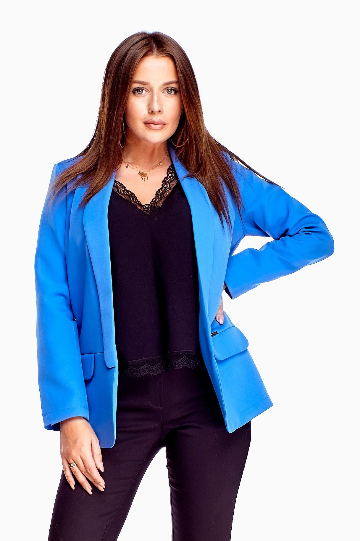 Elegantné dámske modré sako - 36