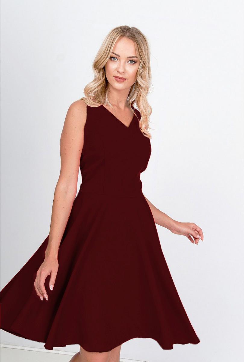 Elegantné krátke bordové šaty na ramienka - XL