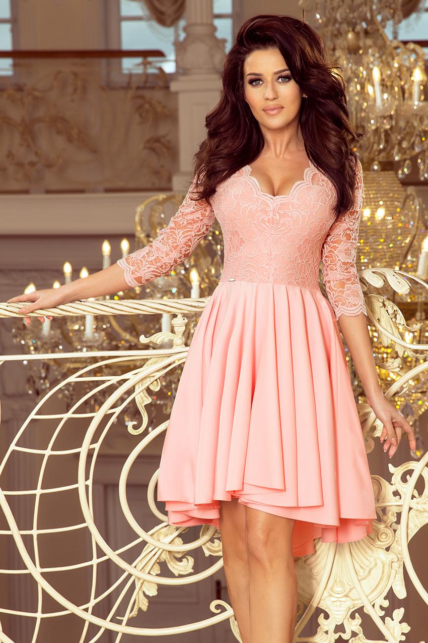 Elegantné krátke ružové šaty s čipkou - S