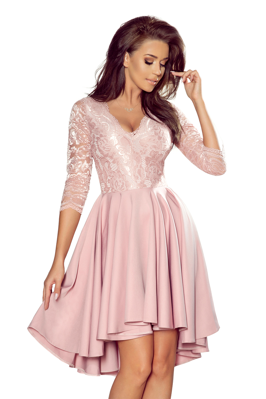Elegantné krátke staroružové šaty s čipkou - S