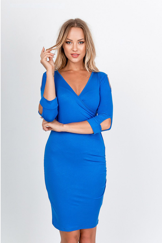 Elegantné modré midi šaty