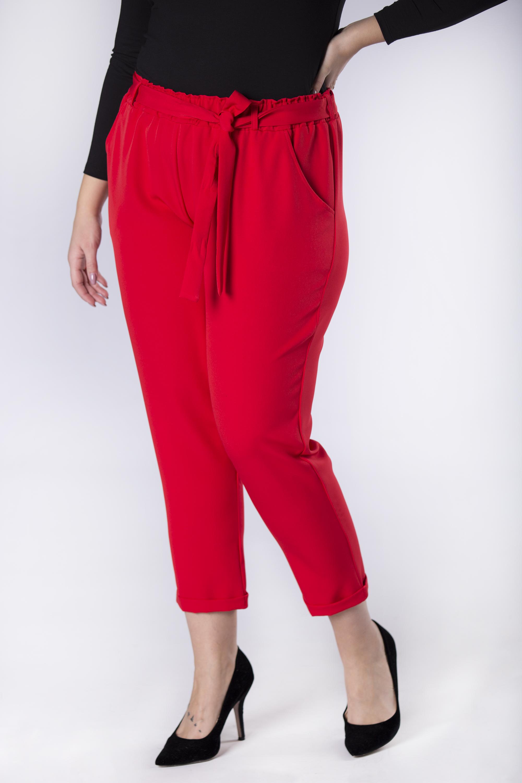 Dámske červené nohavice s opaskom - 3XL