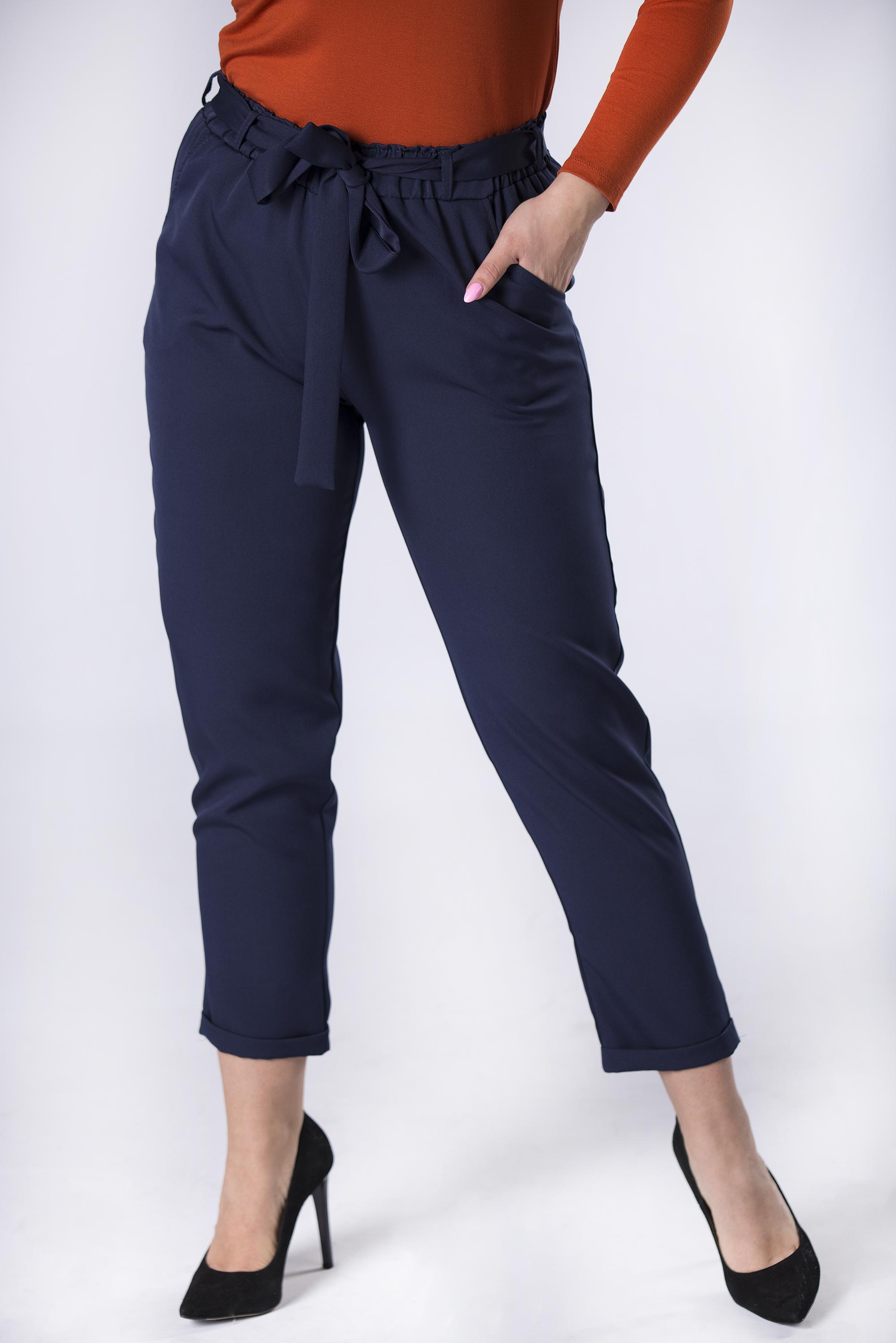 Dámske modré nohavice s opaskom - 3XL