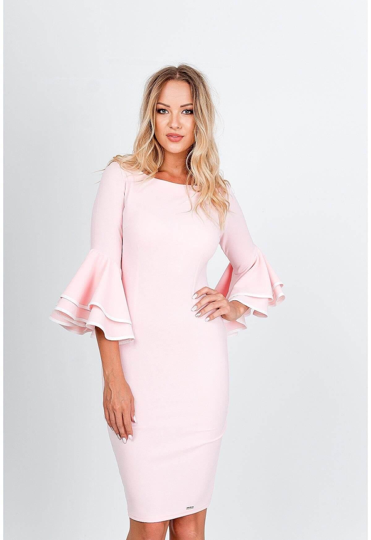 Elegantné ružové šaty s volánmi - L
