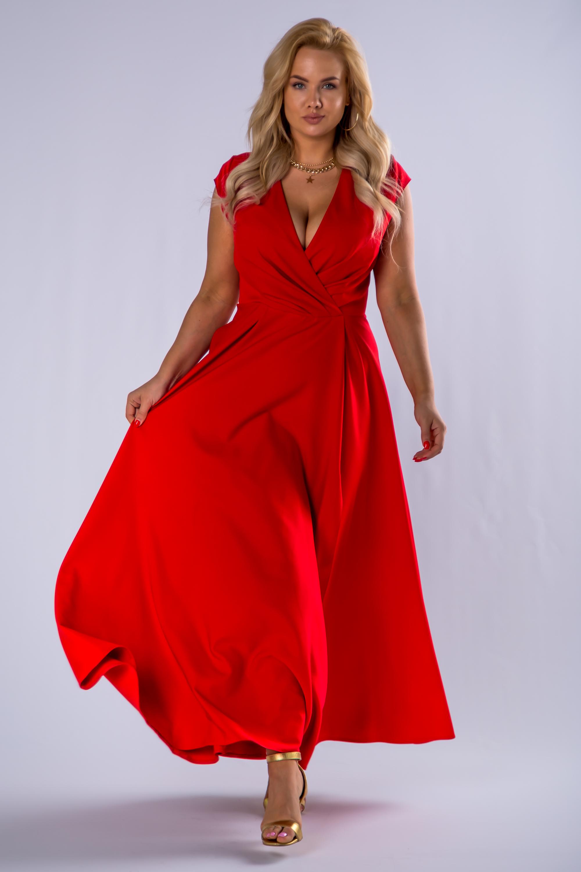 Červené dlhé spoločenské šaty s rázporkom - 46
