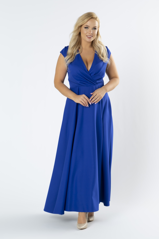 Modré dlhé spoločenské šaty s rázporkom - 46