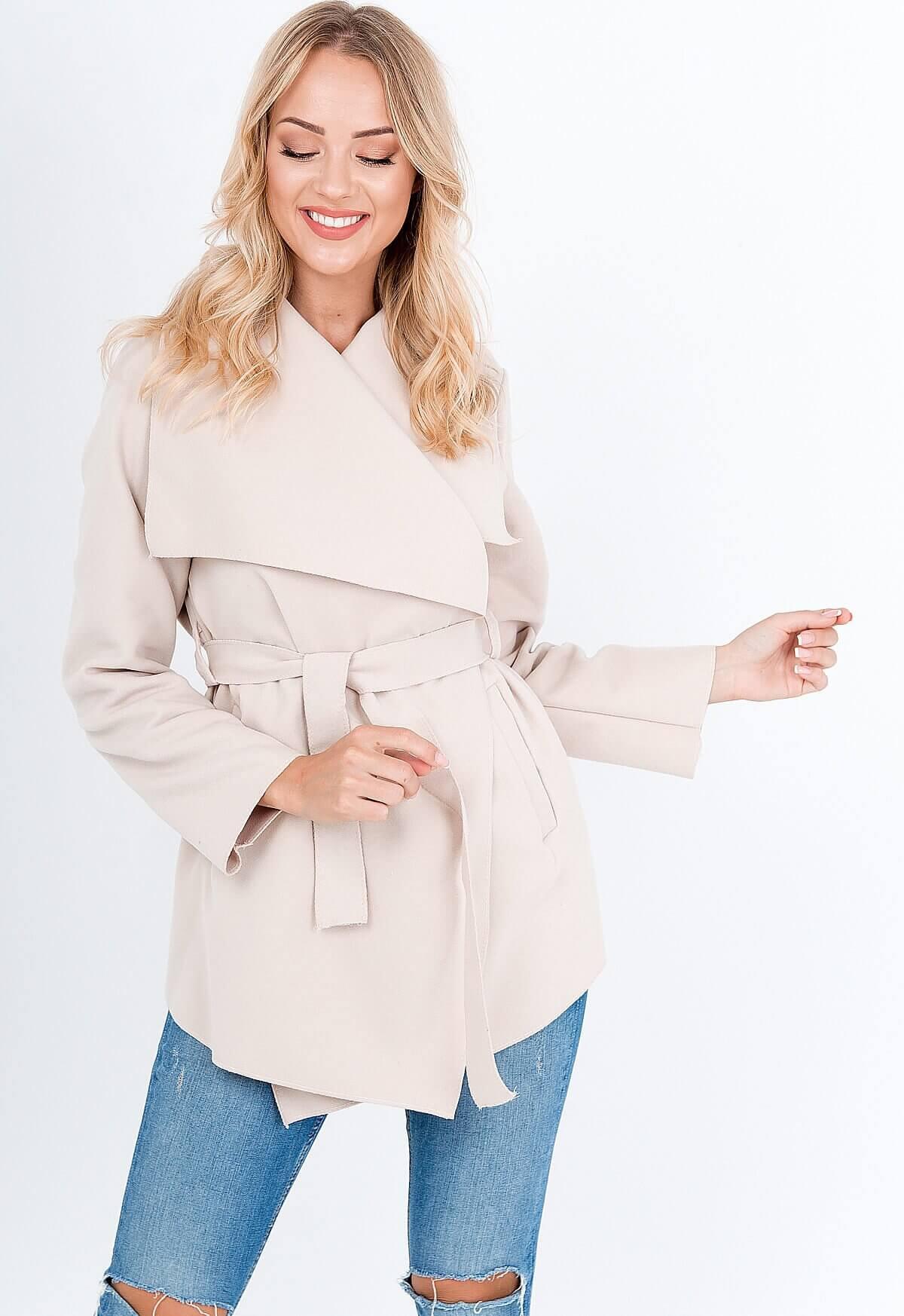 Elegantný béžový dámsky kabát - ROUZIT.SK d8ab830473a