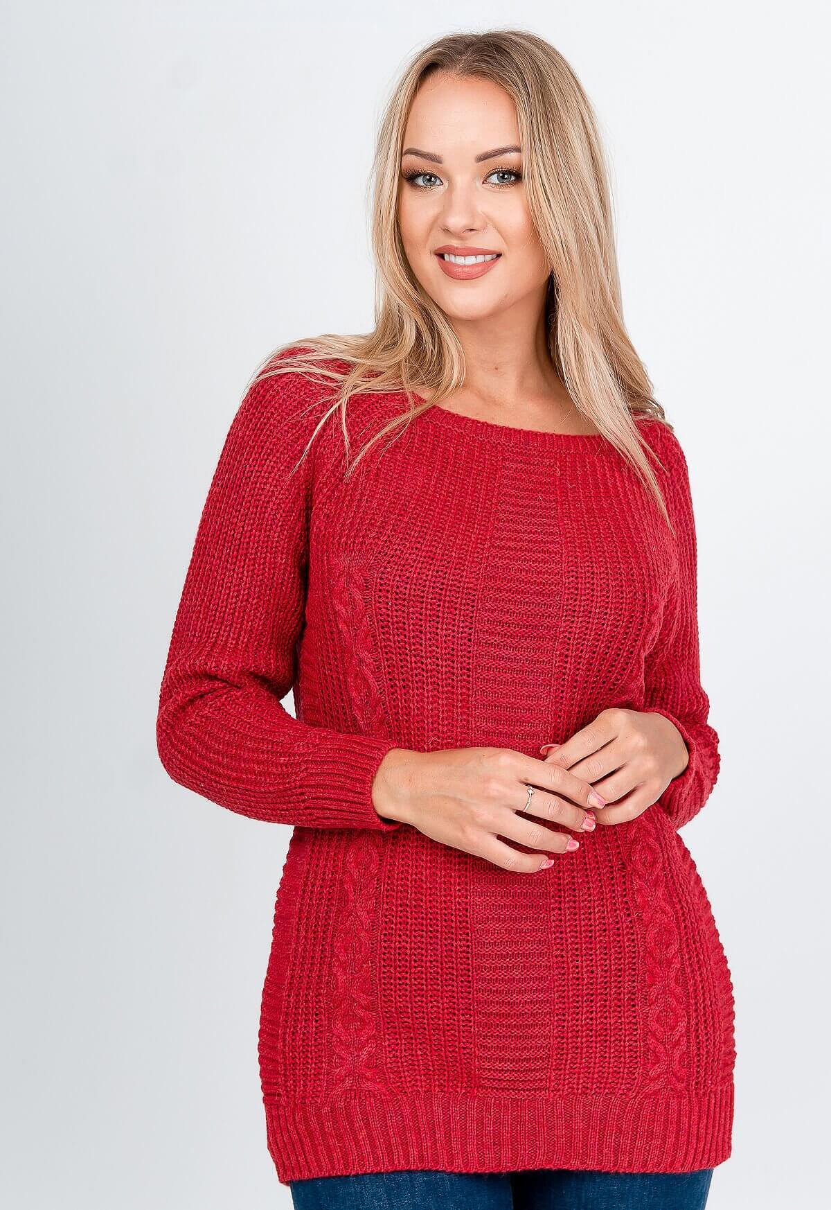 Elegantný dlhý červený sveter s rebrovaním