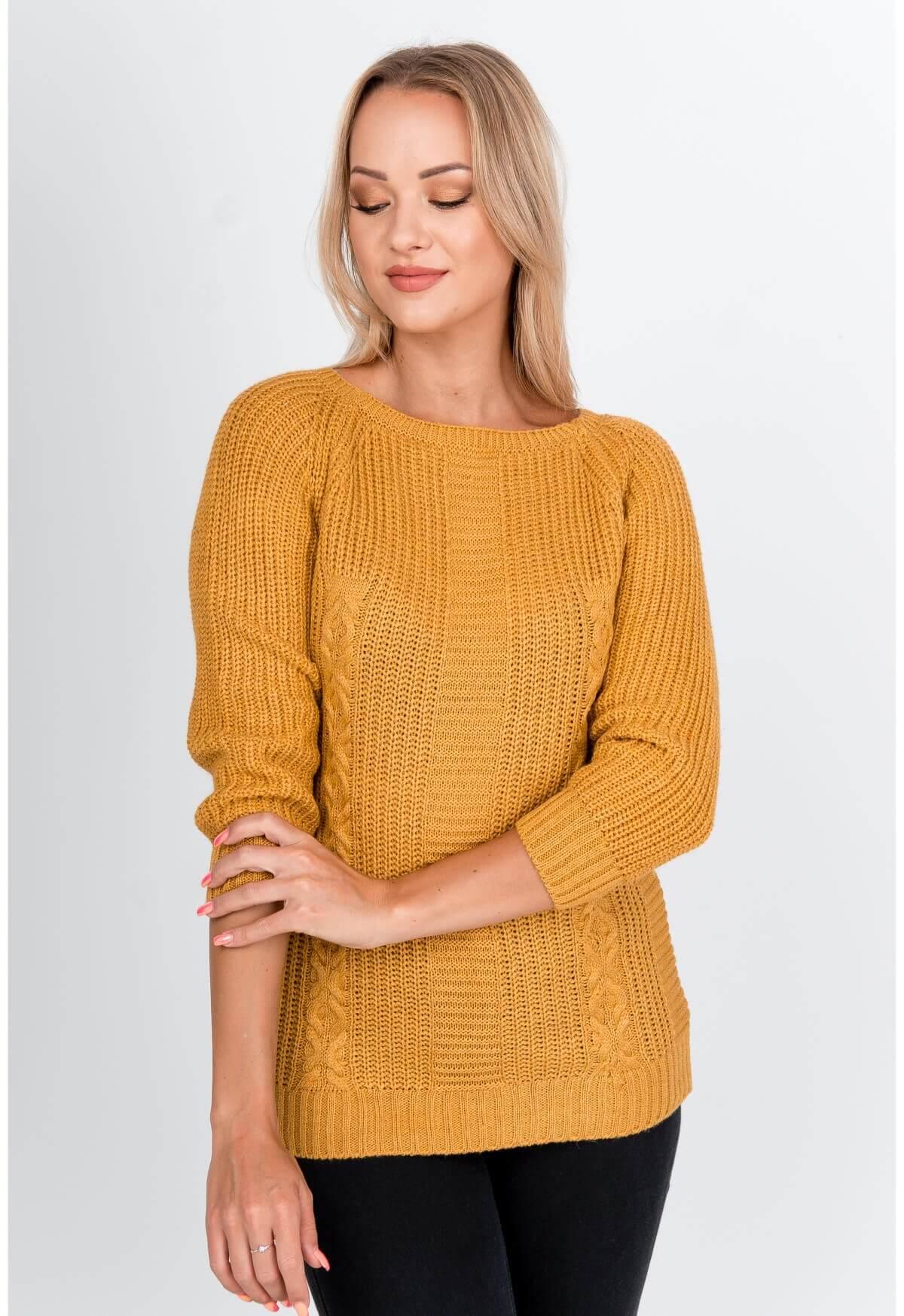 Elegantný dlhý horčicový sveter s rebrovaním