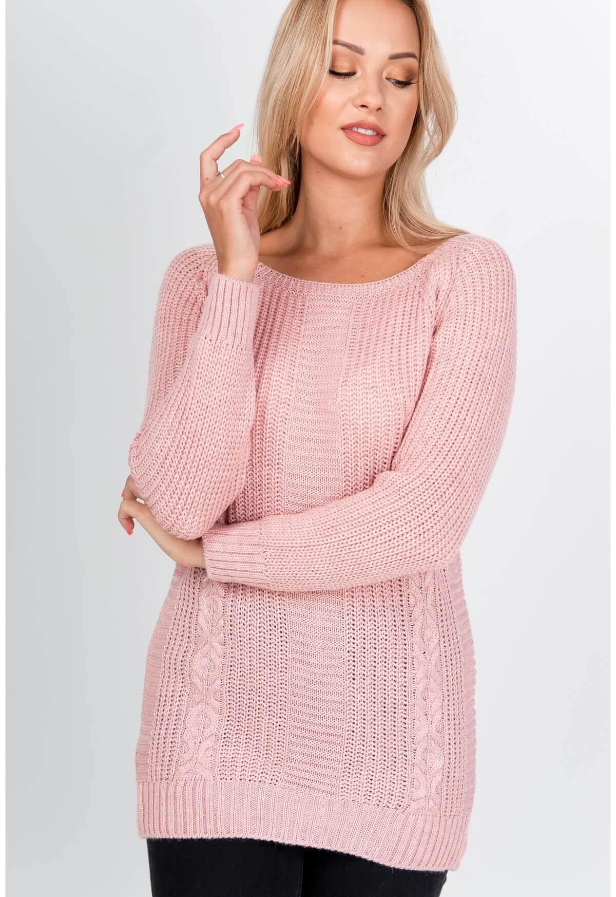 Elegantný dlhý ružový sveter s rebrovaním