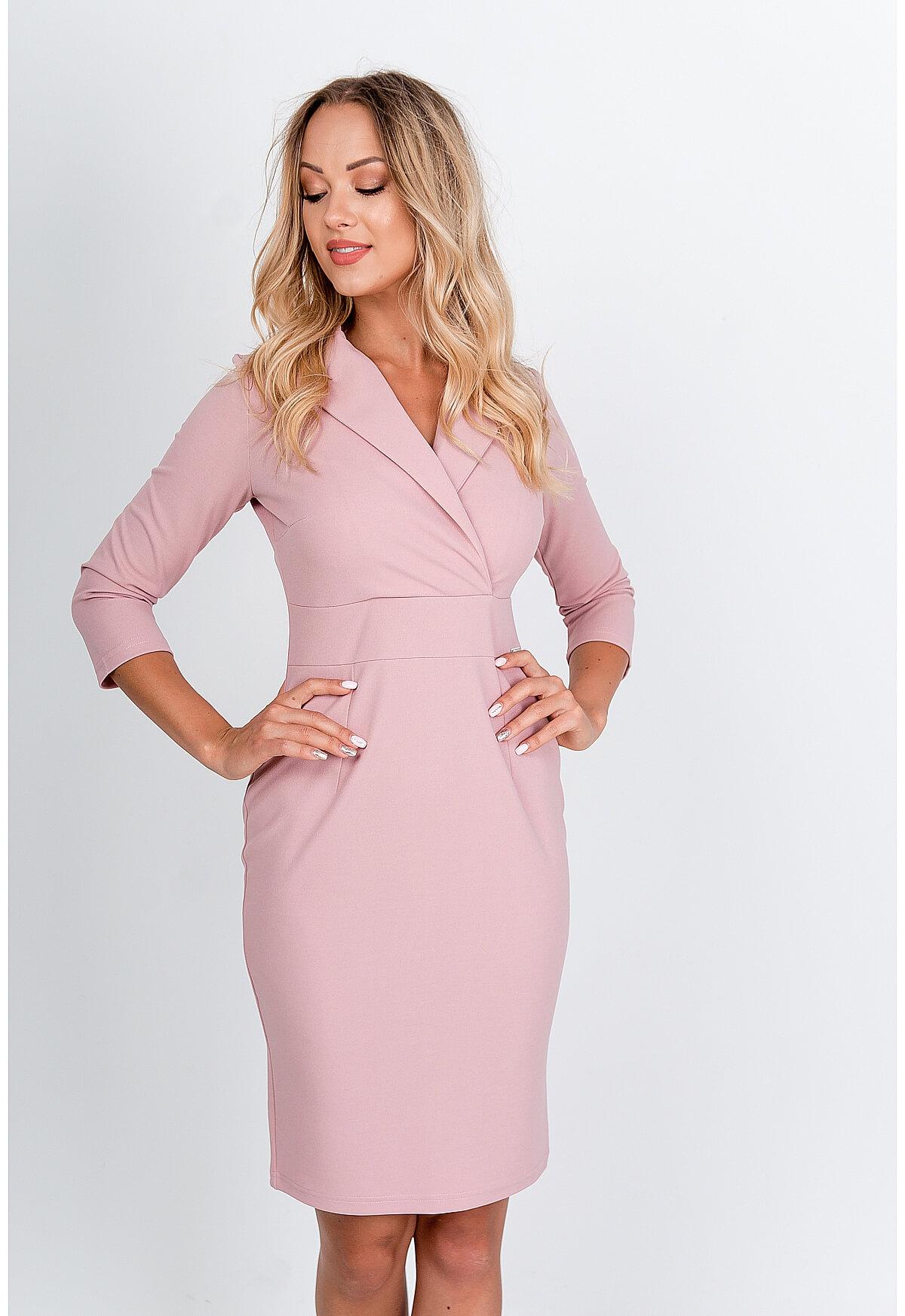 Ružové polodlhé večerné šaty - L