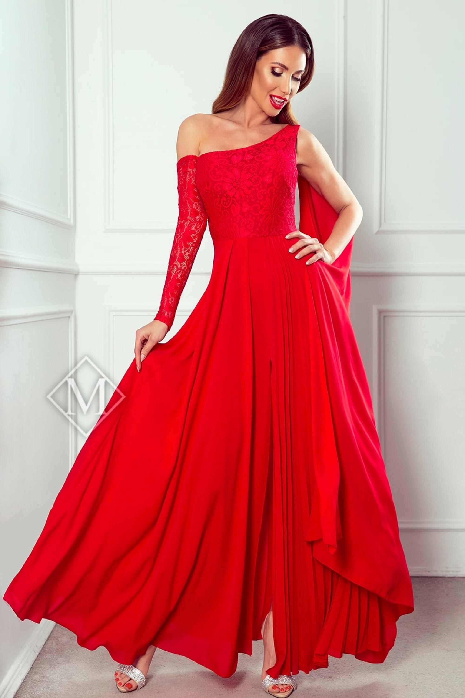 Dlhé plesové šaty s čipkou a jedným rukávom červené - 38