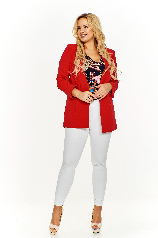 Elegantný červený dámsky kabát - 52