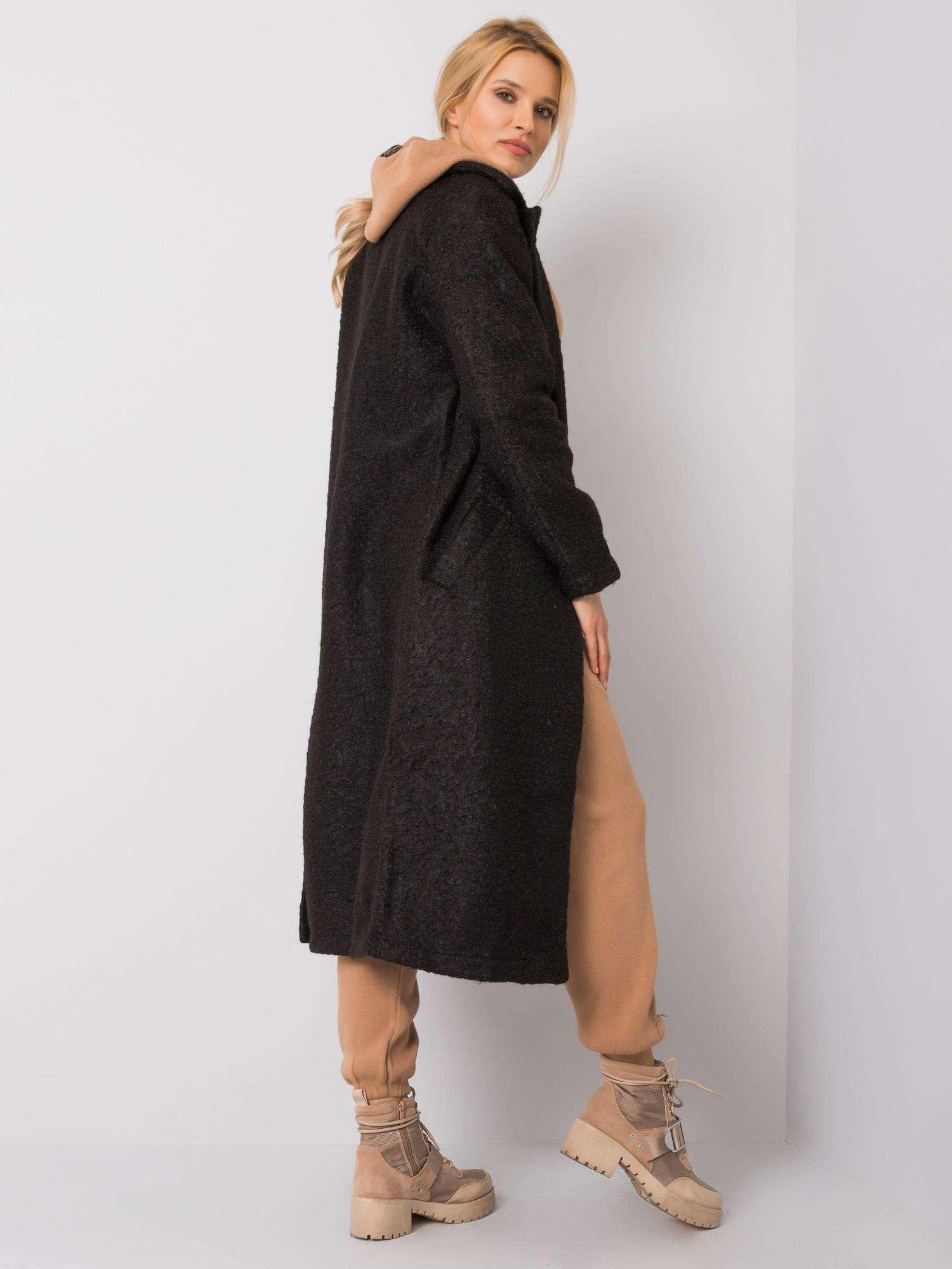 Dlhý čierny kabát - S