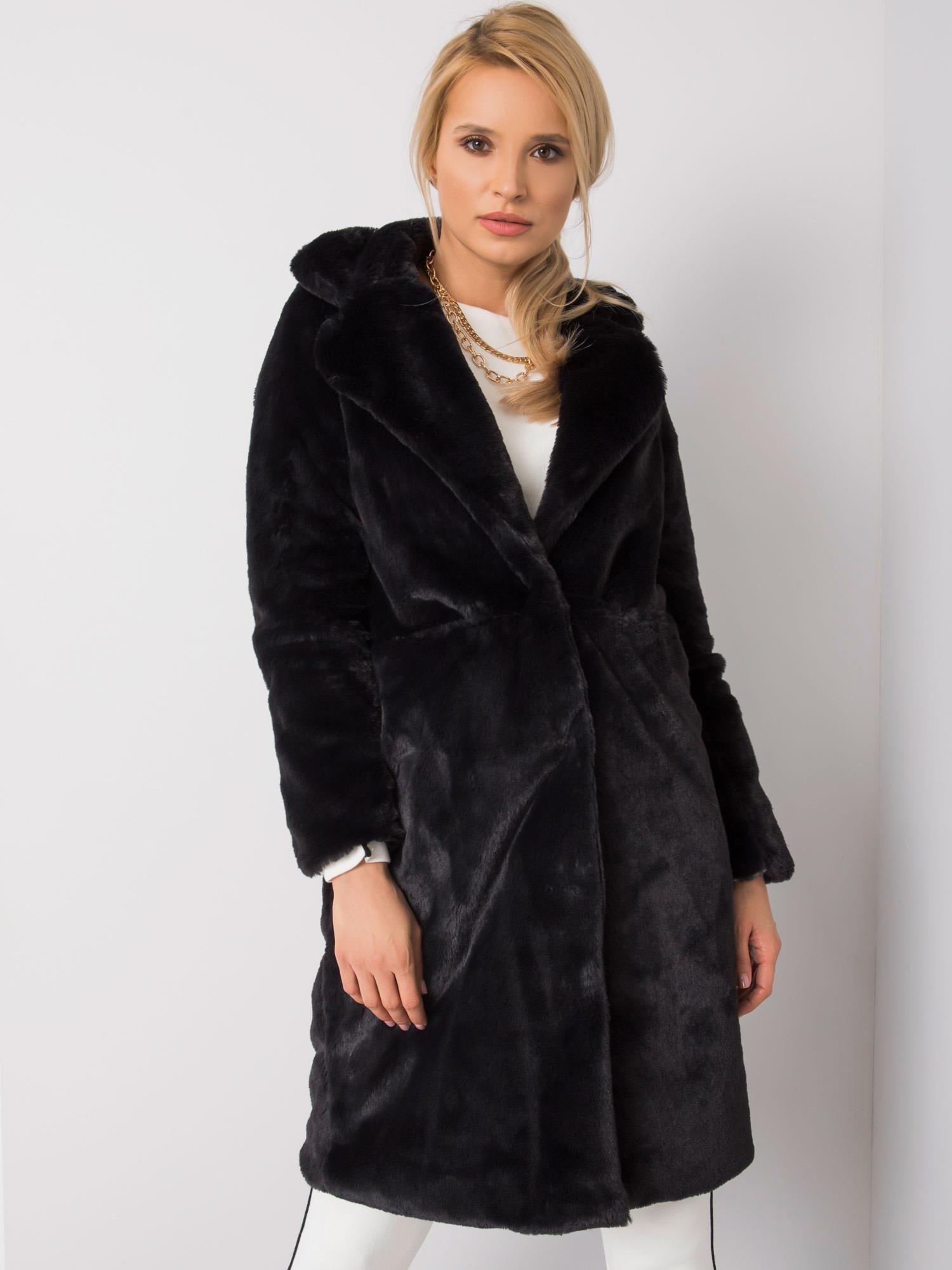 Čierny huňatý kabát - S