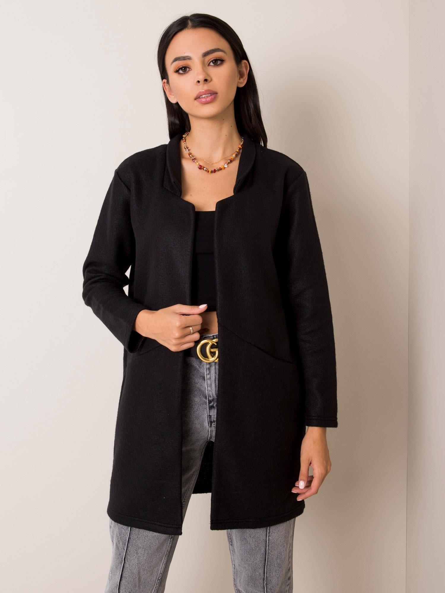 Čierny polodlhý kabát - S