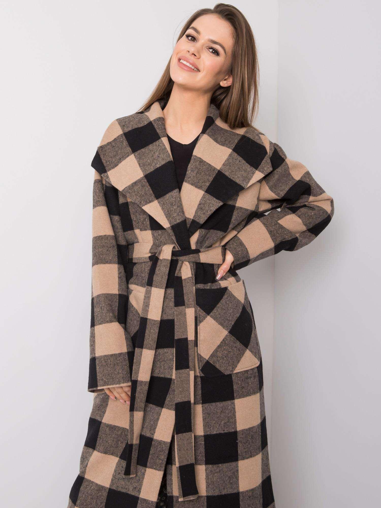 Dlhý béžovo-čierny károvaný kabát - 36