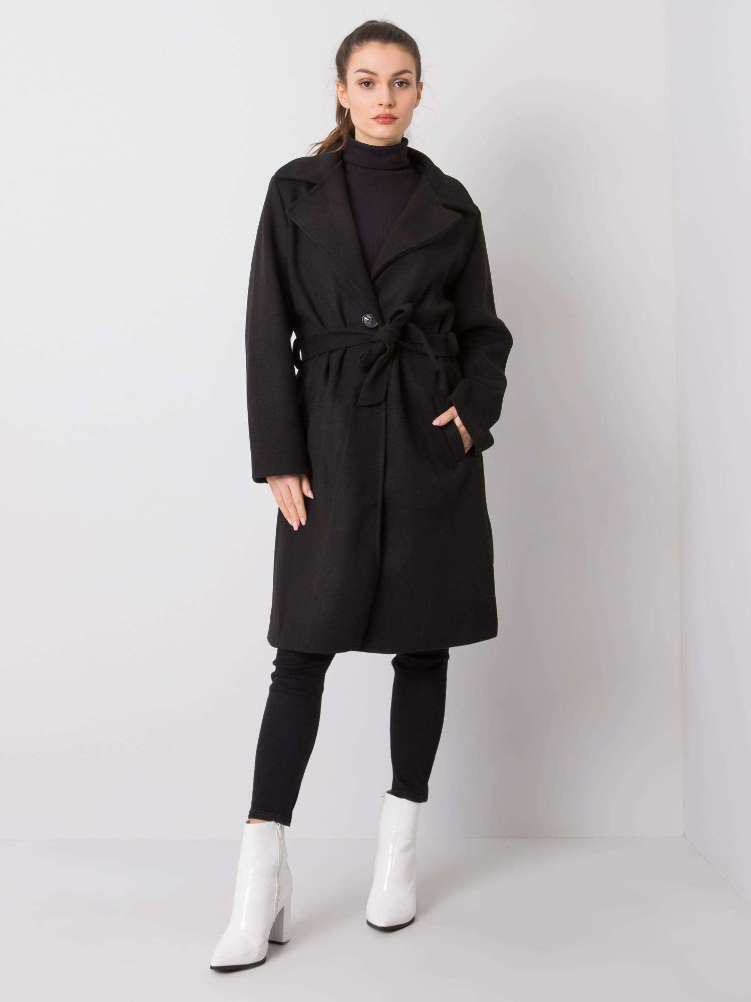 Čierny dlhý kabát s opaskom - UNI