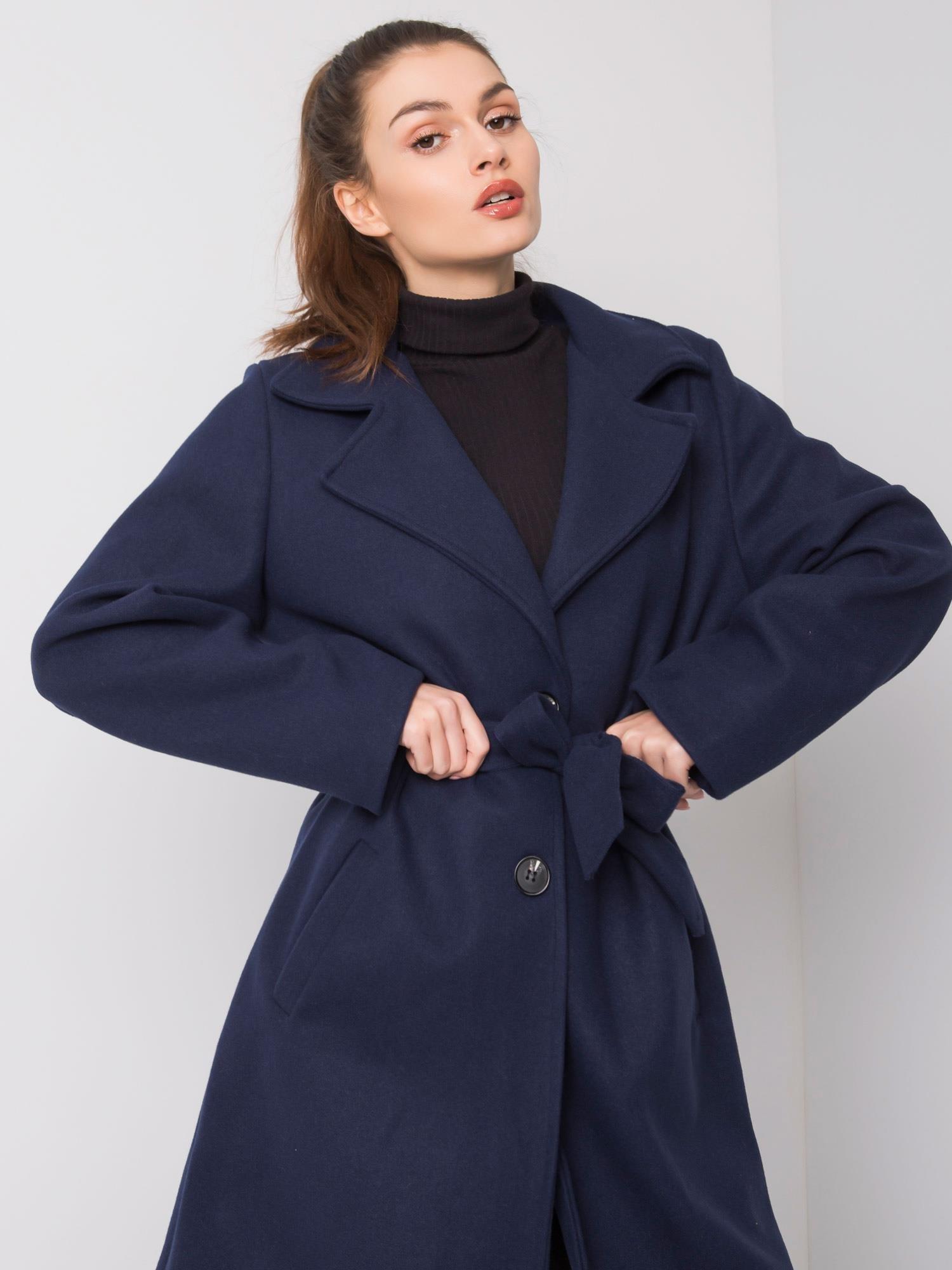 Námornícky modrý dlhý kabát s opaskom - UNI