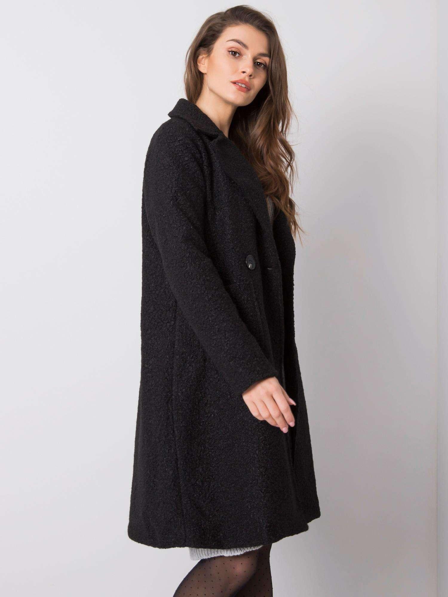 Dlhý čierny kabát s gombíkmi - UNI