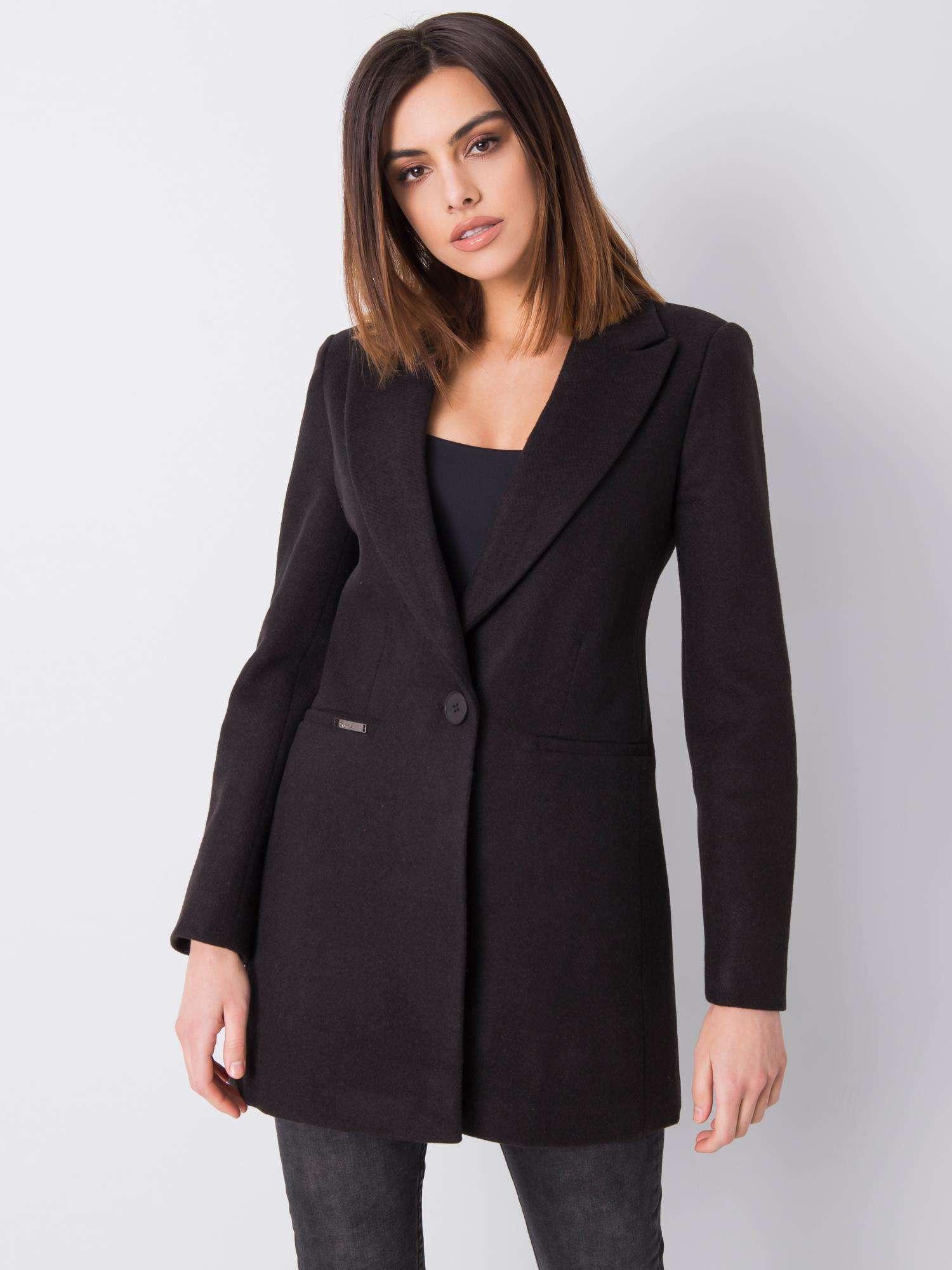 Čierny prechodný kabát s gombíkom - S