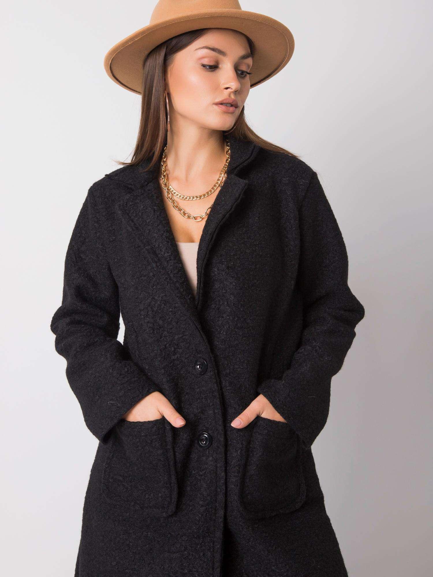 Dámsky čierny kabát - UNI