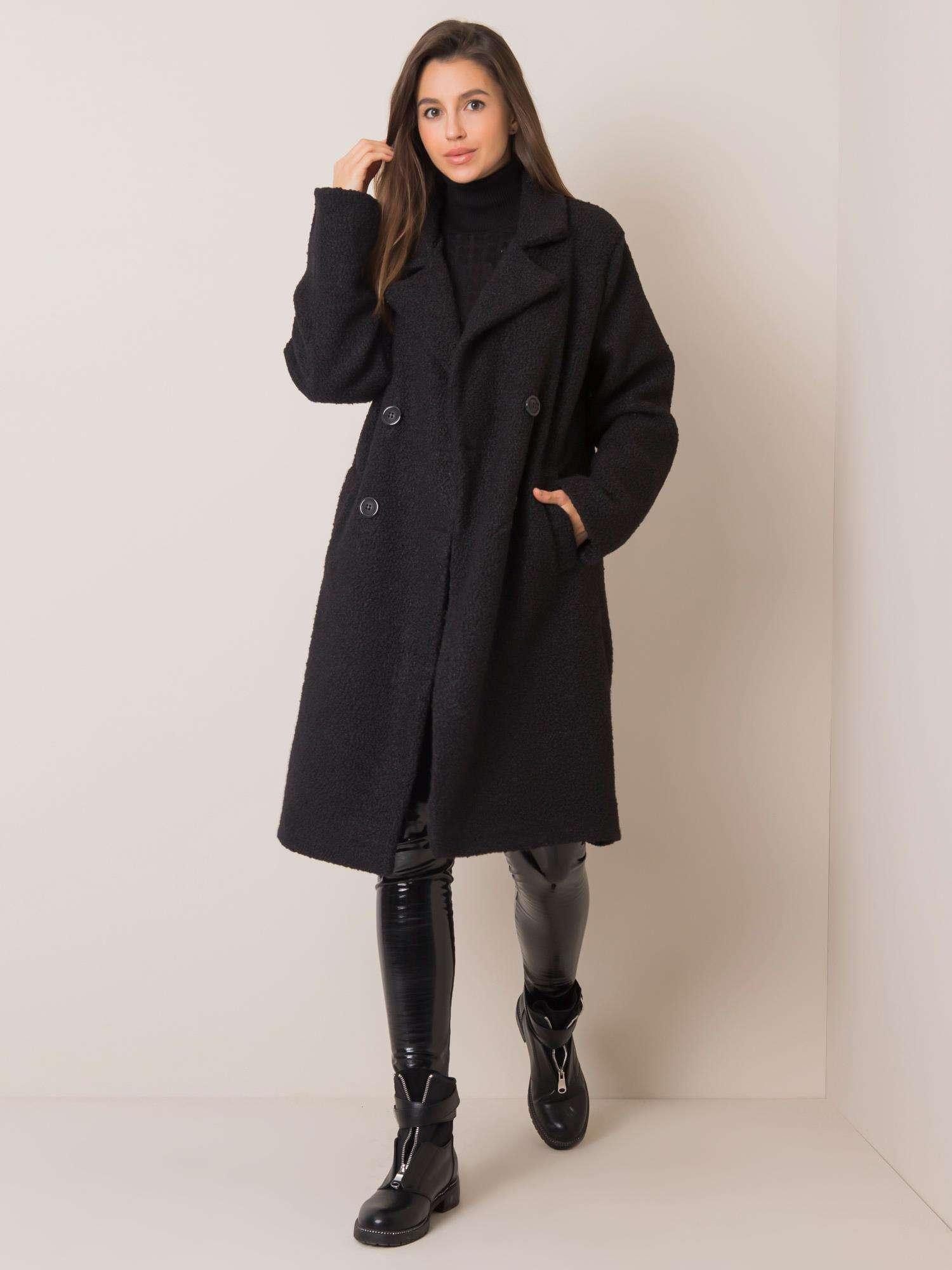 Čierny dvojradový kabát - S
