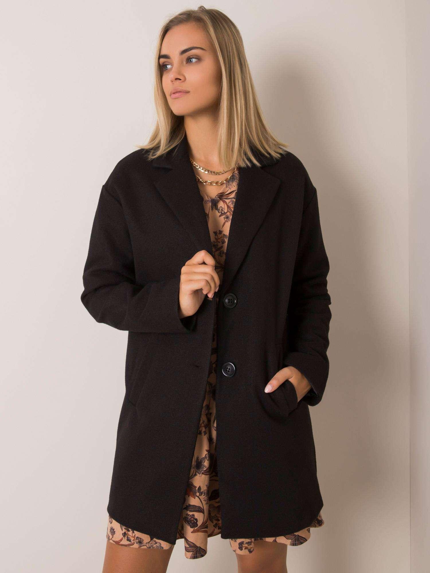 Dámsky čierny kabát - S