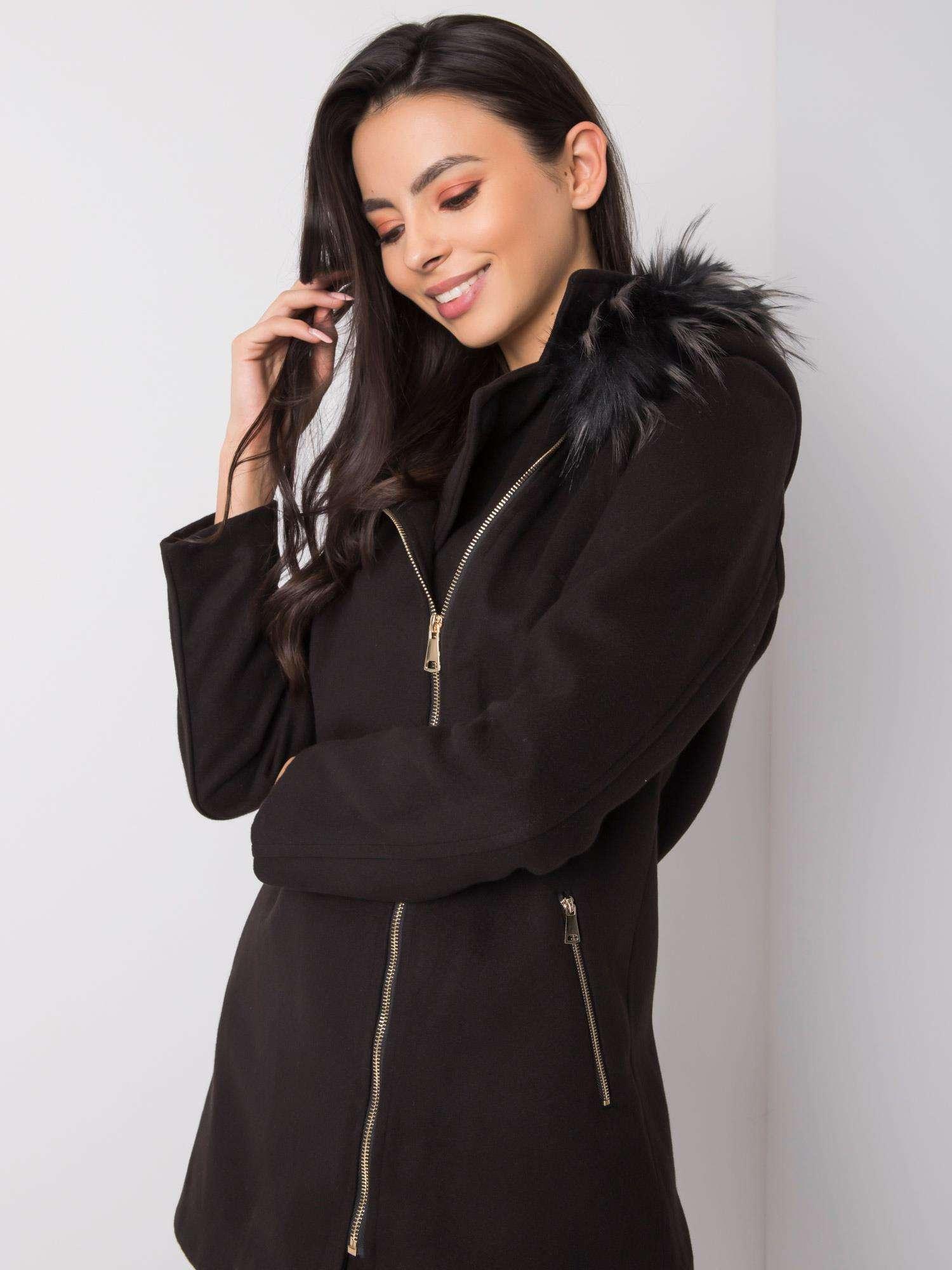 Čierny kabát s kapucňou - S
