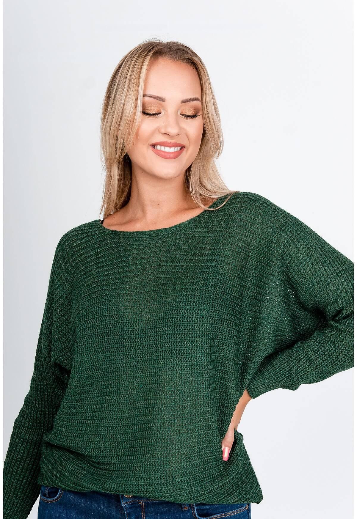 Kaki oversize sveter s okrúhlym výstrihom
