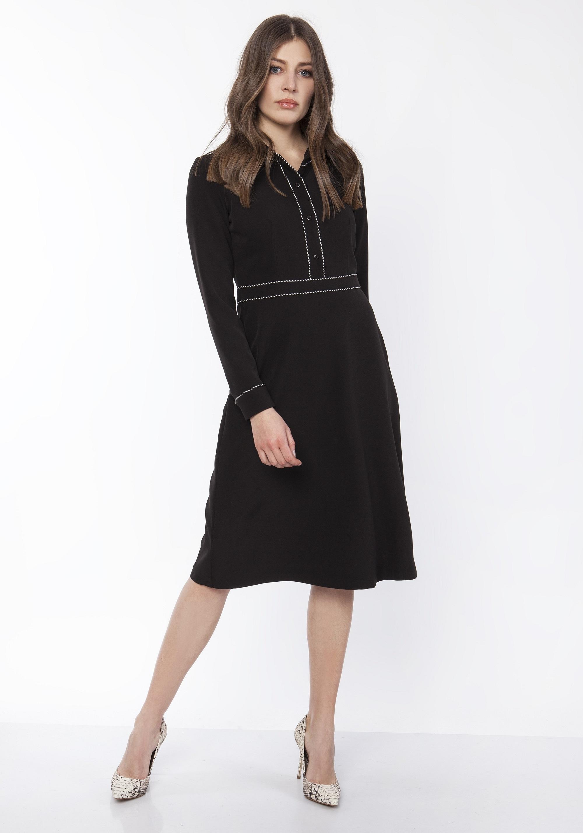 Klasické krátke šaty s dlhým rukávom čierne - 40