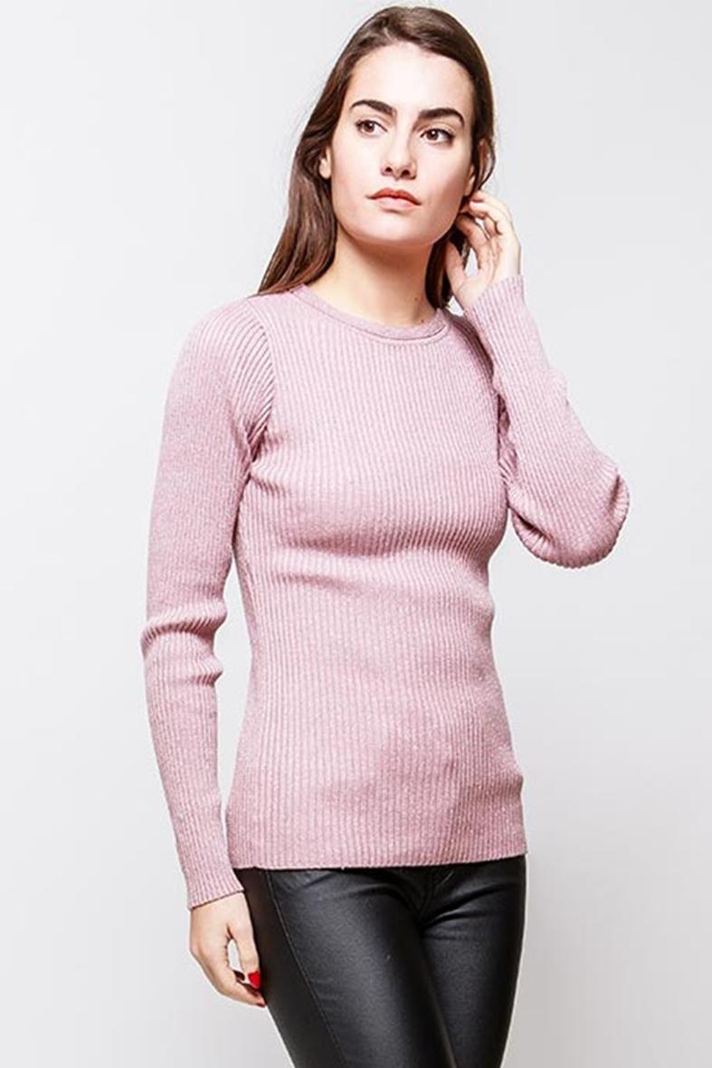 Klasický dámsky ružový sveter