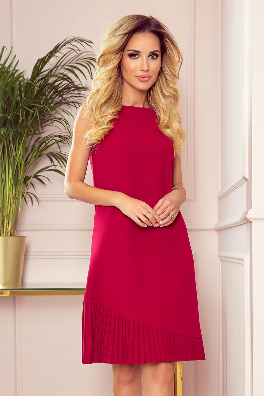 Koktejlové červené šaty so skladaným dnom - L