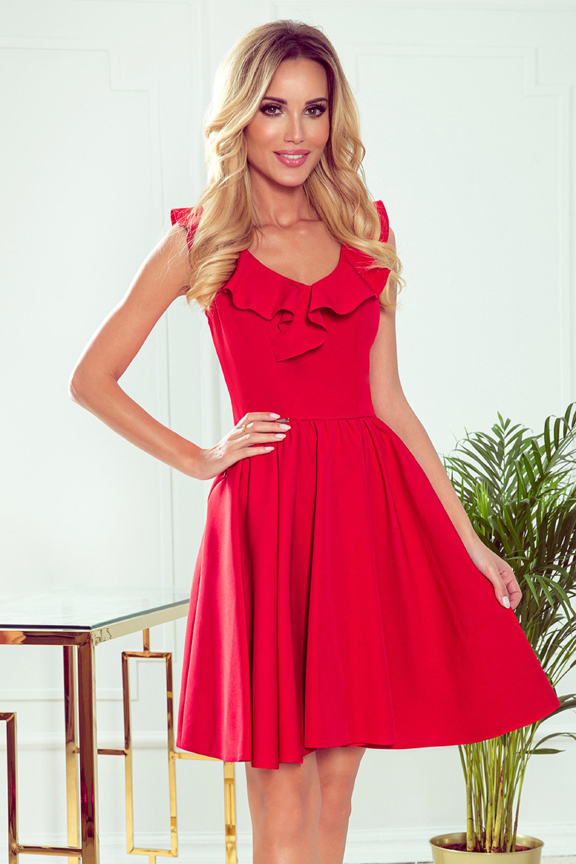 Červené koktejlové šaty s volánom na výstrihu - L
