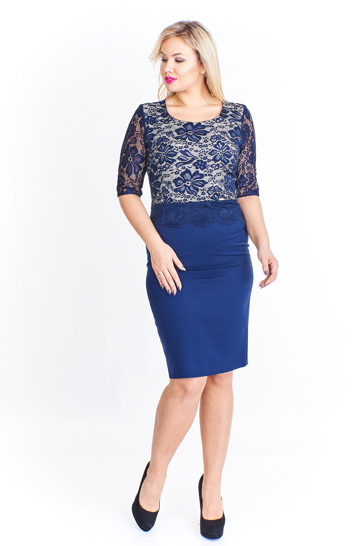 Koktejlové puzdrové modré šaty s čipkou - 40