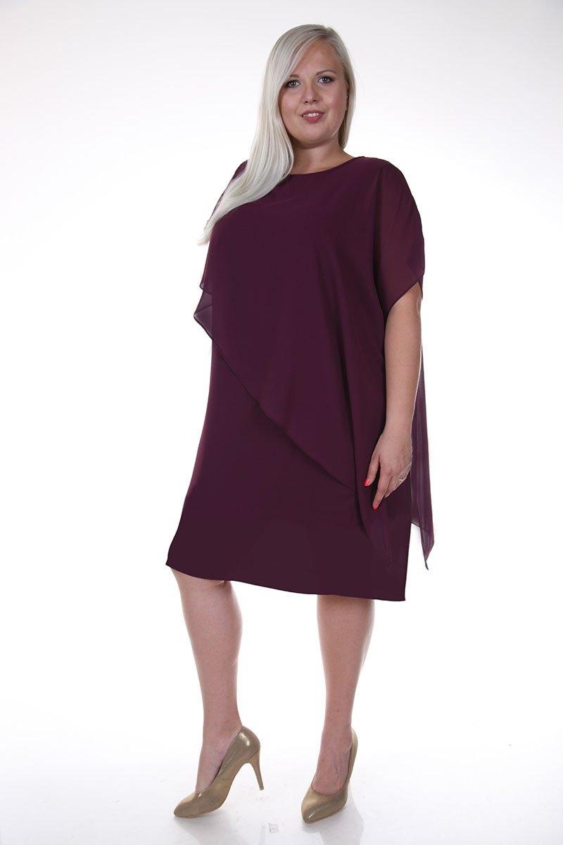 Polodlhé fialové koktejlové šaty s krehkým volánom - 48
