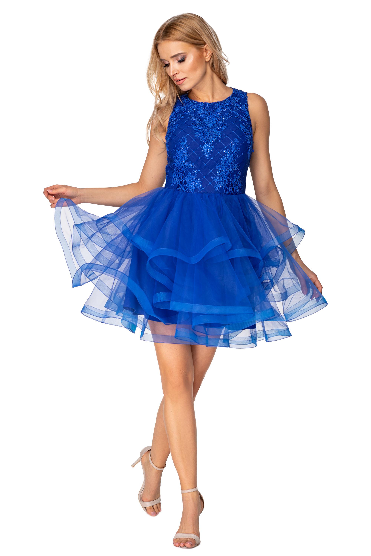 Koktejlové šaty s riasenou sukňou a vyšívaným vrchom modré - 38