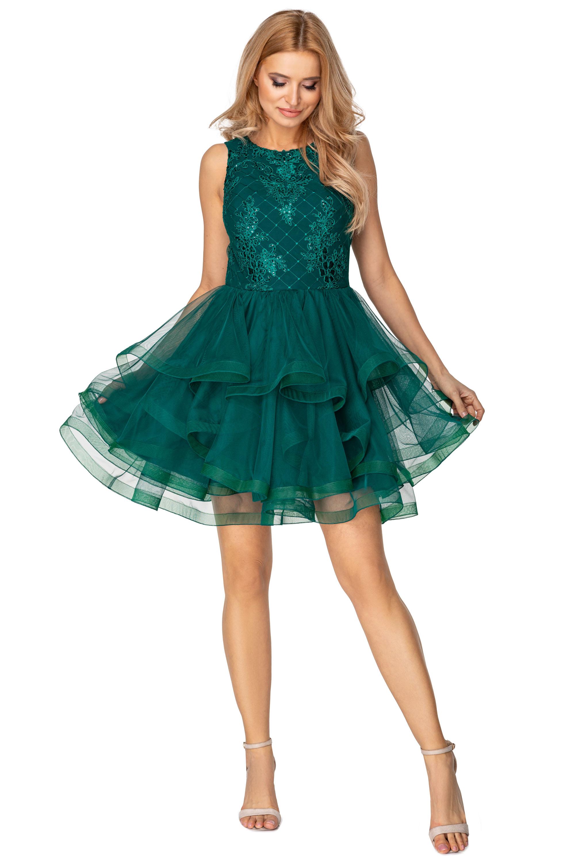 Koktejlové šaty s riasenou sukňou a vyšívaným vrchom zelené - 38