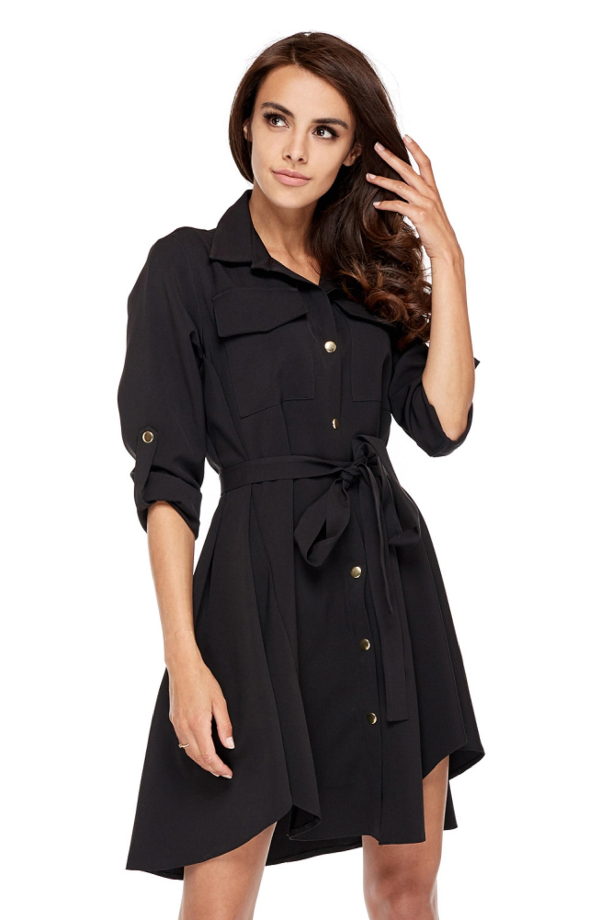 Čierne krátke košeľové šaty - S