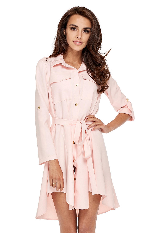 Asymetrické košeľové šaty pudrové ružové - L
