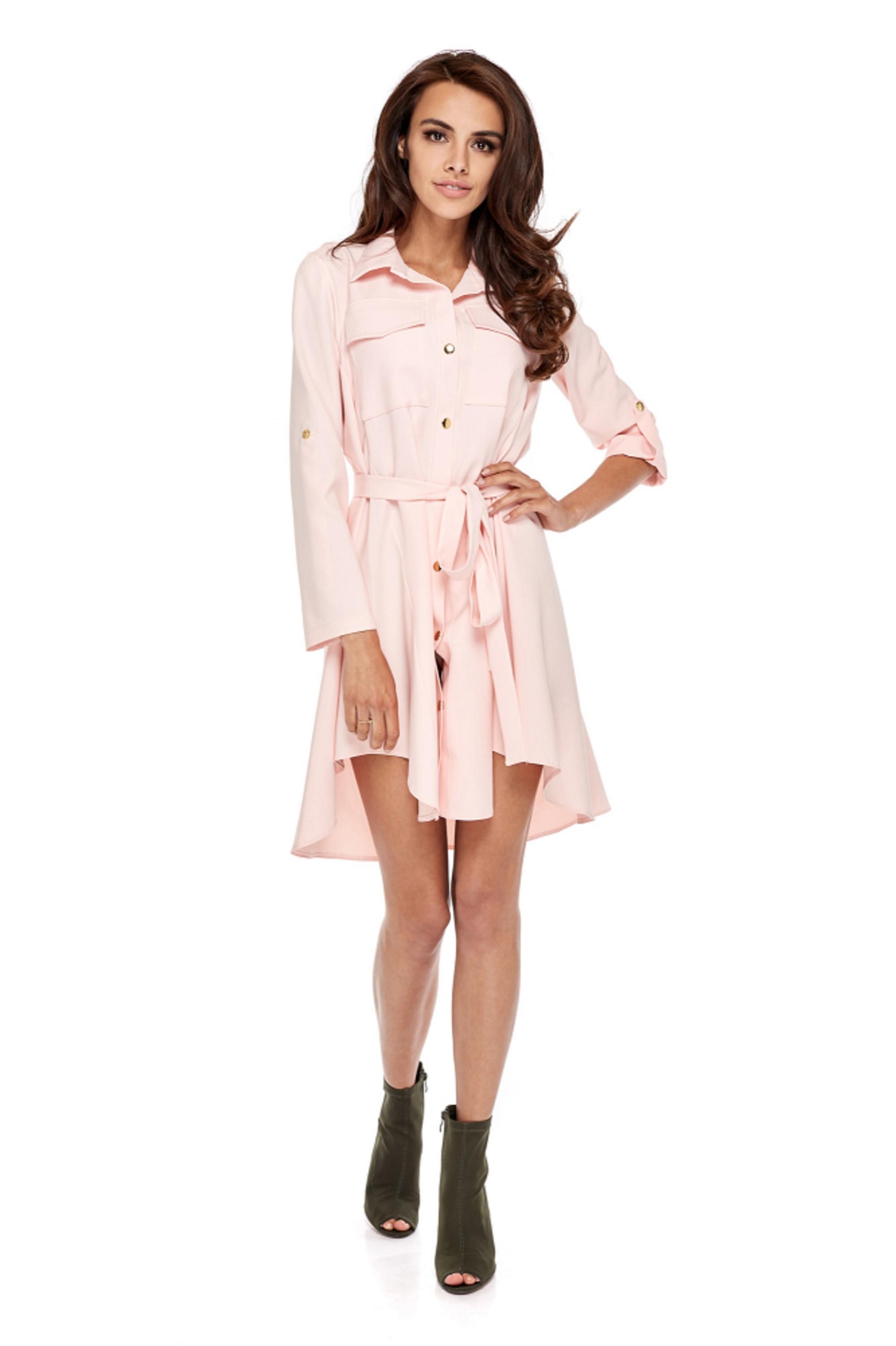 Ružové košeľové šaty s dlhými rukávmi - L