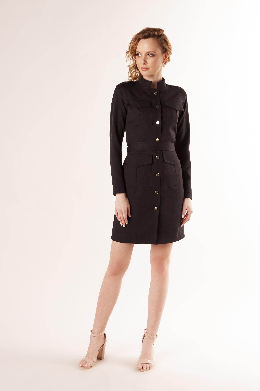 Čierne košeľové šaty s opaskom a vreckami - S