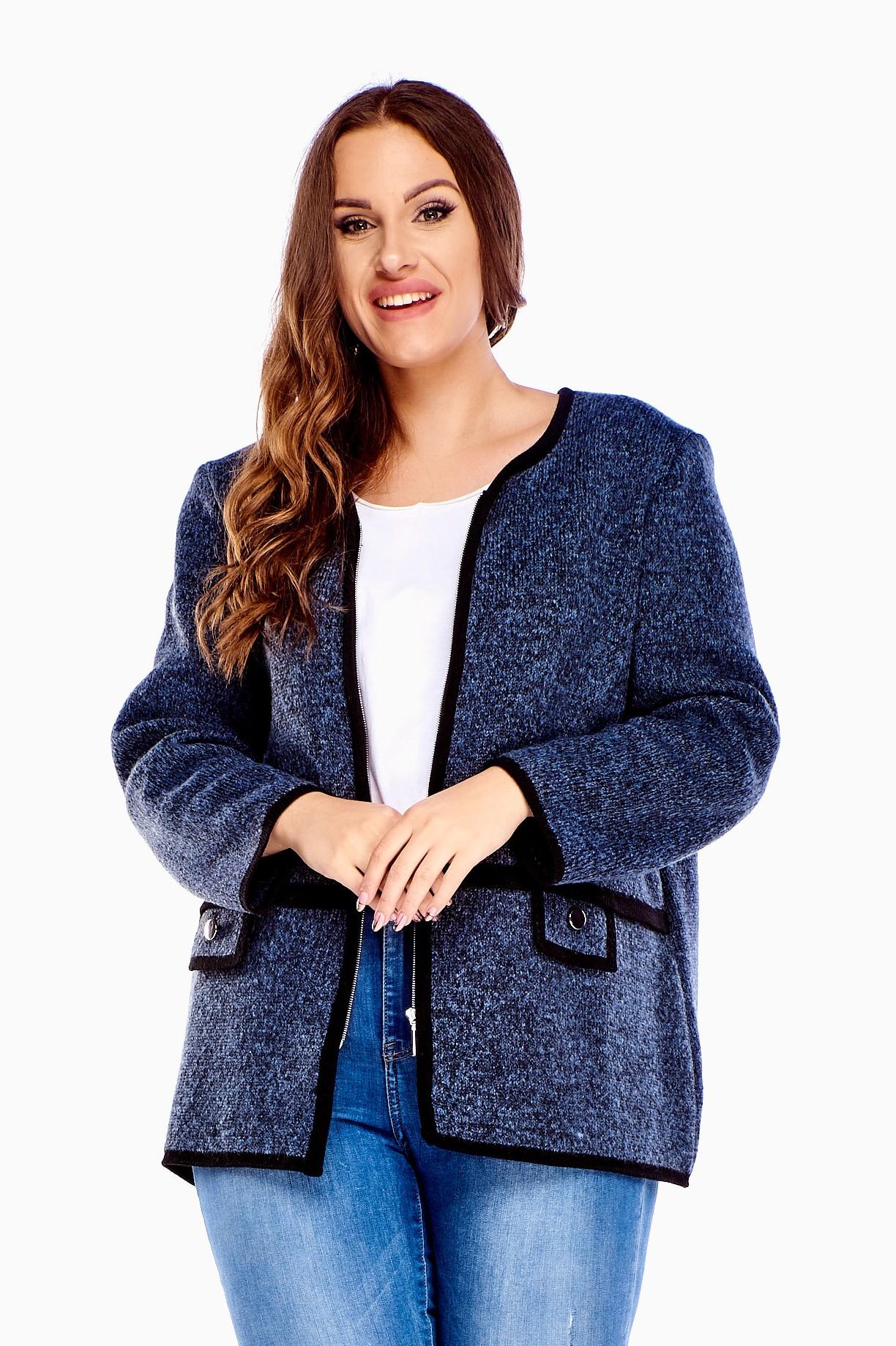 Krátka dámska šedá bunda so šnúrkou