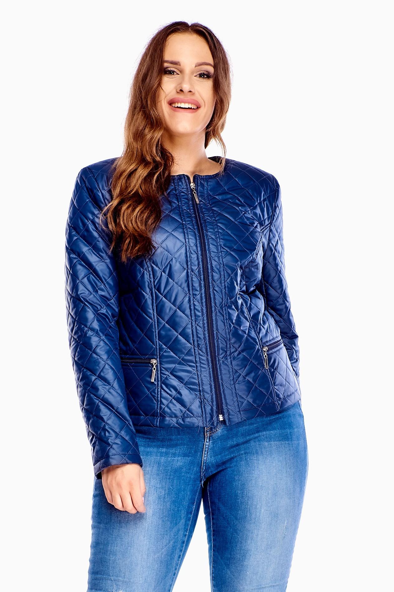 Krátka prechodná modrá bunda na zips - 42