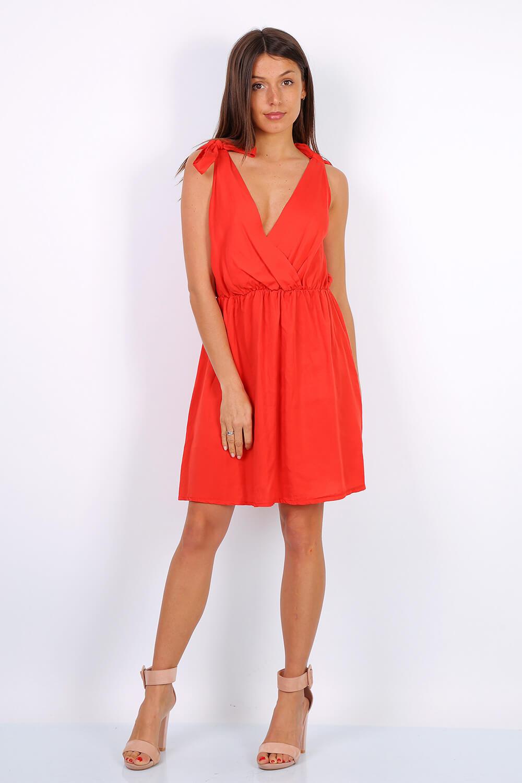 Krátke pastelovo červené šaty na ramienka - UNI