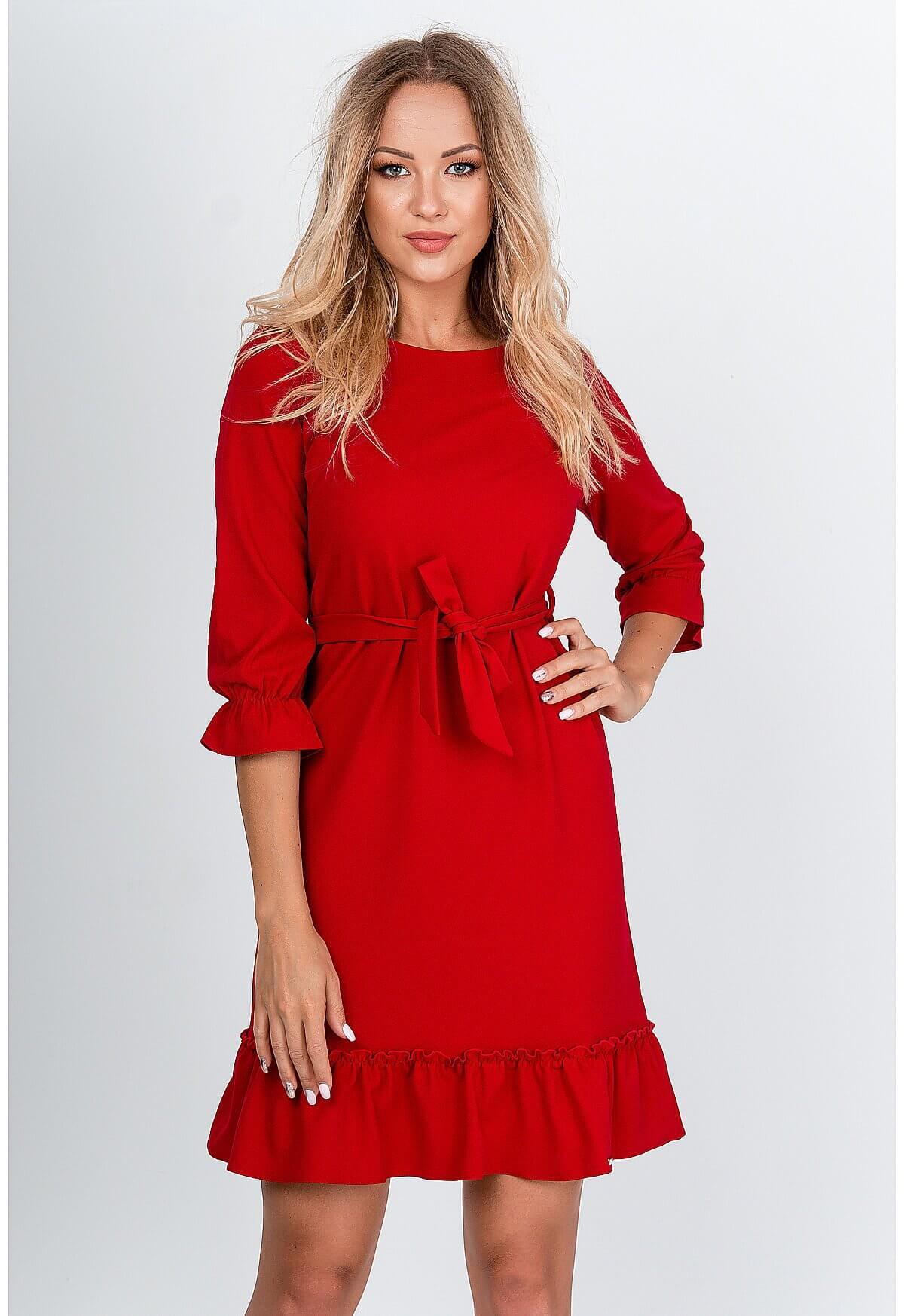 Krátke červené šaty s volánmi - S